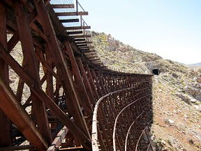 View down Goat Canyon trestle in Anza Borrego